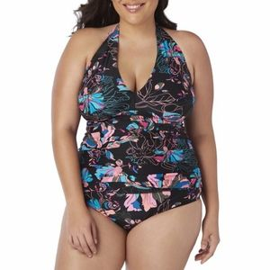 Time & Tru floral halter one piece bathing suit L